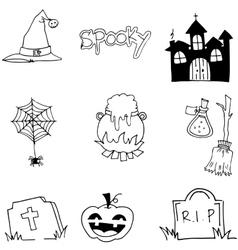 Tomb pumpkins broom element halloween doodle vector