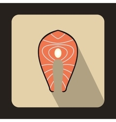 Salmon steak icon in flat style vector