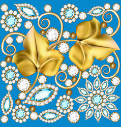A background with jewels ornaments and golden vector