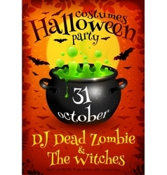 Bright orange Halloween party poster template with vector image