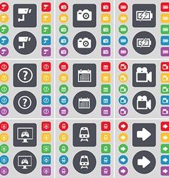Cctv camera charging question mark calendar film vector