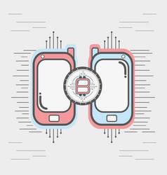 Color smartphone icon circuit bitcoin money vector