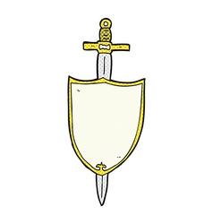 Comic cartoon heraldic shield vector