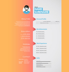 Creative curriculum vitae template with orange vector