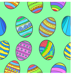 Doodle of easter egg colorful collection vector