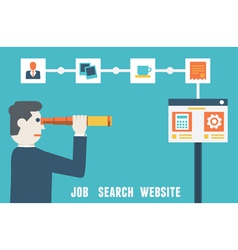 Flat concept of job search website vector