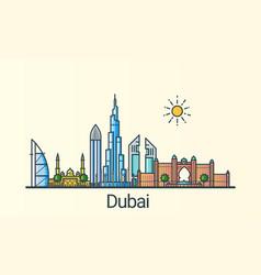 flat line dubai banner vector image
