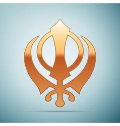 Gold khanda sikh icon on blue background vector
