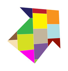 image of a pointing arrow from colored geom vector image