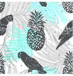 Ink hand drawn jungle seamless pattern vector
