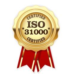 Iso 31000 standard certified rosette - risk vector