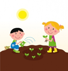 Kids watering planting plant vector