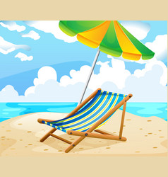 Ocean scene with seat and umbrella on the beach vector