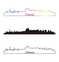 Ottawa skyline linear style with rainbow vector