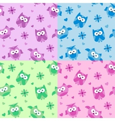owls patterns vector image vector image