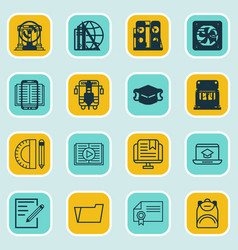 set of 16 education icons includes taped book vector image vector image