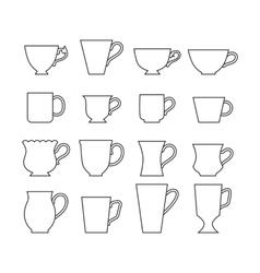Set of mugs Cups for drinks Flat icons vector image vector image