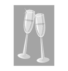 Two champagne glasses icon gray monochrome style vector
