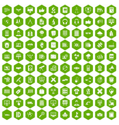 100 education technology icons hexagon green vector