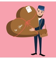 Post man delivery guy bring package heart shape vector