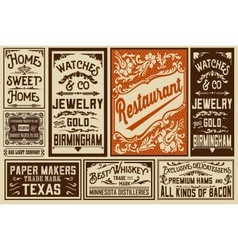 Pack old advertisement designs and labels - vector