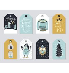 Christmas tags set hand drawn style vector