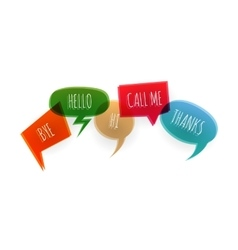 Text collection speech bubble icons glitch style vector image