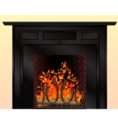 Isolated fireplace with burning fire vector