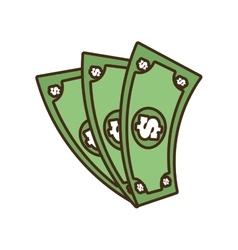 Cartoon money bills dollar cash vector