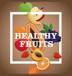 Poster healthy fruits tasty meal vector
