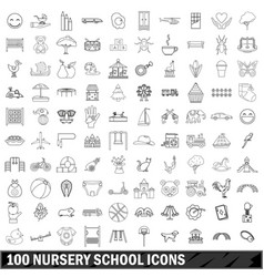 100 nursery school icons set outline style vector image