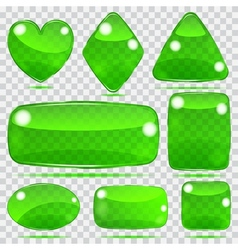 Set of transparent glass shapes vector