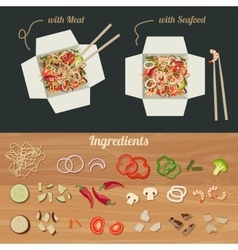 Chinese noodles with ingredients vector