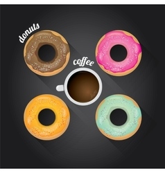 Donuts coffee background vector