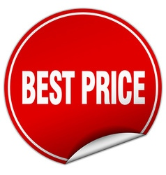 Best price round red sticker isolated on white vector