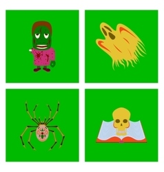 Assembly flat zombie men ghost spider vector