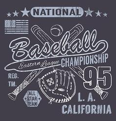 Baseball sport typography eastern league los vector