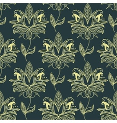 Beige seamless paisley floral pattern vector