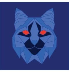 Blue low poly bobcat vector