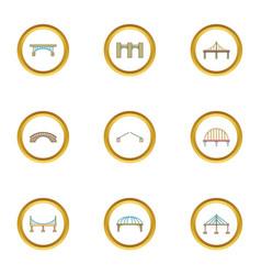 Bridge icons set cartoon style vector