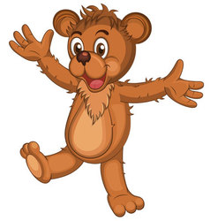 Cute brown cartoon bear vector image