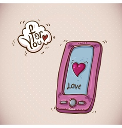 Doodle card valentines day with pink phone vector