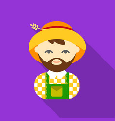 Farmer flat icon for web and mobile vector