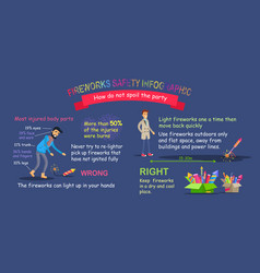 Fireworks safety infographic pyrotechnic distance vector