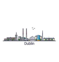 flat line dublin banner vector image