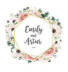 floral wedding invitation elegant invite card vector image