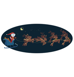 flying santa in a sleigh with deer christmas vector image vector image