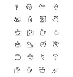 Food hand drawn outline icons 4 vector