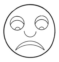 Frown sad face vintage engraving vector