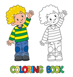 Funny little boy coloring book vector
